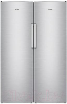 Холодильник с морозильником ATLANT X-1602 + M-7606 N (нержавеющая сталь)