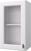 Шкаф навесной для кухни Горизонт Мебель Ева 40 с витриной (белый софт) -