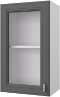 Шкаф навесной для кухни Горизонт Мебель Ева 40 с витриной (графит софт) -