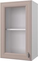 Шкаф навесной для кухни Горизонт Мебель Ева 40 с витриной (мокко софт) -