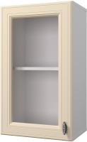Шкаф навесной для кухни Горизонт Мебель Ева 40 с витриной (тирамису софт) -