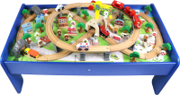 Железная дорога игрушечная Edwone Поезд с вагоном на батарейках / 17А01 (100 предметов) -