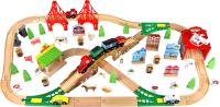Железная дорога игрушечная Edwone Поезд с вагоном на батарейках. С мостом / 17Р04 (110 предметов) -