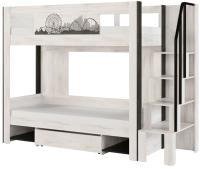 Двухъярусная кровать МСТ. Мебель Фест №12 (с лестницей, молокай) -