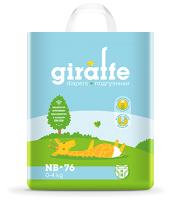 Подгузники детские Lovular Giraffe NB 0-4кг / 429192 (76шт) -