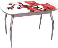 Обеденный стол Ивару Прага (с фотопечатью/опоры хром) -