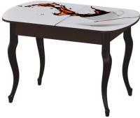 Обеденный стол Ивару Прага (с фотопечатью/опоры массив/венге) -