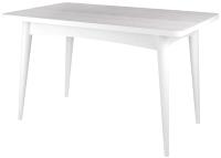 Обеденный стол Ивару Ялта-2 (опоры массив цилиндрический/белый/анкор светлый) -