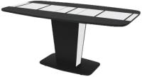 Обеденный стол Ивару Домино (МДФ черный глянец/стекло) -