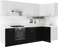 Готовая кухня S-Company Клео глосc 1.2x2.9 правая (черный глянец/белый глянец) -