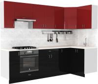 Готовая кухня S-Company Клео глосc 1.2x2.7 правая (черный глянец/бургундский глянец) -