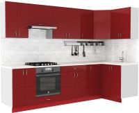 Готовая кухня S-Company Клео глосc 1.2x2.9 правая (бургундский глянец/бургундский глянец) -