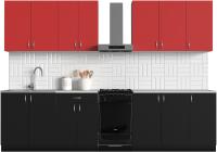 Готовая кухня S-Company Клео колор 2.6 (черный/красный) -