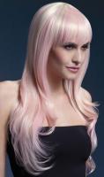 Парик Fever Блонд с розовыми прядями -