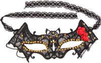 Карнавальная маска White Label В форме летучей мыши со стразами и цветами / 60609 -