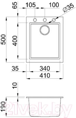 Мойка кухонная Elleci Quadra 100 Bianco Titano G68 / LGQ10068