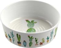 Миска для животных Tarhong Cactus / PDR5067PBSC (белый с рисунком) -
