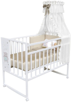 Детская кроватка VDK Magico Mini колесо-качалка Oh my Bear (Bianco) -