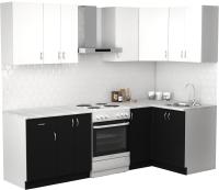 Готовая кухня S-Company Клео лайт 1.2x1.9 правая (черный/белый) -