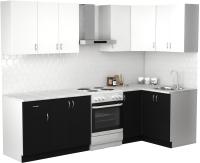Готовая кухня S-Company Клео лайт 1.2x2.1 правая (черный/белый) -