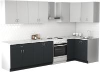 Готовая кухня S-Company Клео лайт 1.2x2.6 правая (антрацит/стальной серый) -