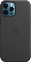 Чехол-накладка Apple Leather Case With MagSafe для iPhone 12 Pro Max Black / MHKM3 -