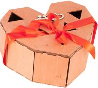 Подарочный набор Экспедиция Сердце (2 бокала, свеча, фанерная коробка) -