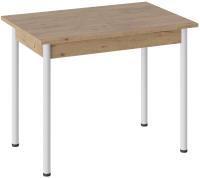 Обеденный стол ТриЯ Родос тип 1 с опорой (белый муар/дуб крафт золотой) -