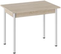 Обеденный стол ТриЯ Родос тип 1 с опорой (белый муар/дуб сонома) -