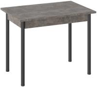 Обеденный стол ТриЯ Родос тип 1 с опорой (черный муар/ателье темный) -