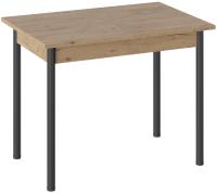 Обеденный стол ТриЯ Родос тип 1 с опорой (черный муар/дуб крафт золотой) -