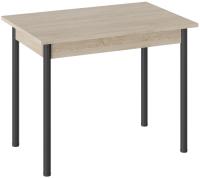 Обеденный стол ТриЯ Родос тип 1 с опорой (черный муар/дуб сонома) -
