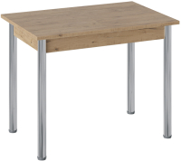 Обеденный стол ТриЯ Родос тип 1 с опорой (хром/дуб крафт золотой) -