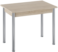 Обеденный стол ТриЯ Родос тип 1 с опорой (хром/дуб сонома) -