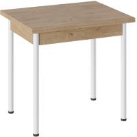 Обеденный стол ТриЯ Родос тип 2 с опорой (белый муар/дуб крафт золотой) -