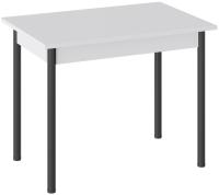 Обеденный стол ТриЯ Родос тип 2 с опорой (черный муар/белый) -