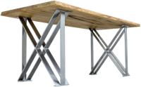 Обеденный стол Buro7 Призма Классика 120x80x76 (дуб натуральный/серебристый) -