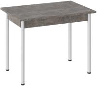 Обеденный стол ТриЯ Родос тип 1 с опорой (белый муар/ателье темный) -