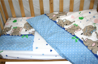 Простыня детская Баю-Бай Слоники / ПР15-С4 (голубой) -