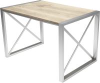 Обеденный стол Buro7 Лофт Классика 110x60x75 (дуб беленый/серебристый) -