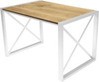 Обеденный стол Buro7 Лофт Классика 110x60x75 (дуб натуральный/белый) -