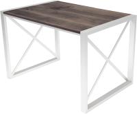Обеденный стол Buro7 Лофт Классика 110x60x75 (дуб мореный/белый) -