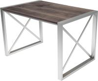 Обеденный стол Buro7 Лофт Классика 110x60x75 (дуб мореный/серебристый) -