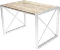 Обеденный стол Buro7 Лофт Классика 120x60x75 (дуб беленый/белый) -