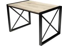 Обеденный стол Buro7 Лофт Классика 120x60x75 (дуб беленый/черный) -