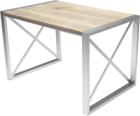 Обеденный стол Buro7 Лофт Классика 120x60x75 (дуб беленый/серебристый) -