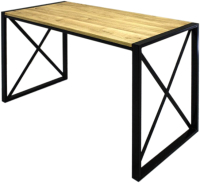 Обеденный стол Buro7 Лофт Классика 120x60x75 (дуб натуральный/черный) -