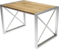 Обеденный стол Buro7 Лофт Классика 120x60x75 (дуб натуральный/серебристый) -