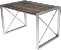 Обеденный стол Buro7 Лофт Классика 120x60x75 (дуб мореный/серебристый) -