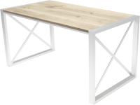 Обеденный стол Buro7 Лофт Классика 150x60x75 (дуб беленый/белый) -